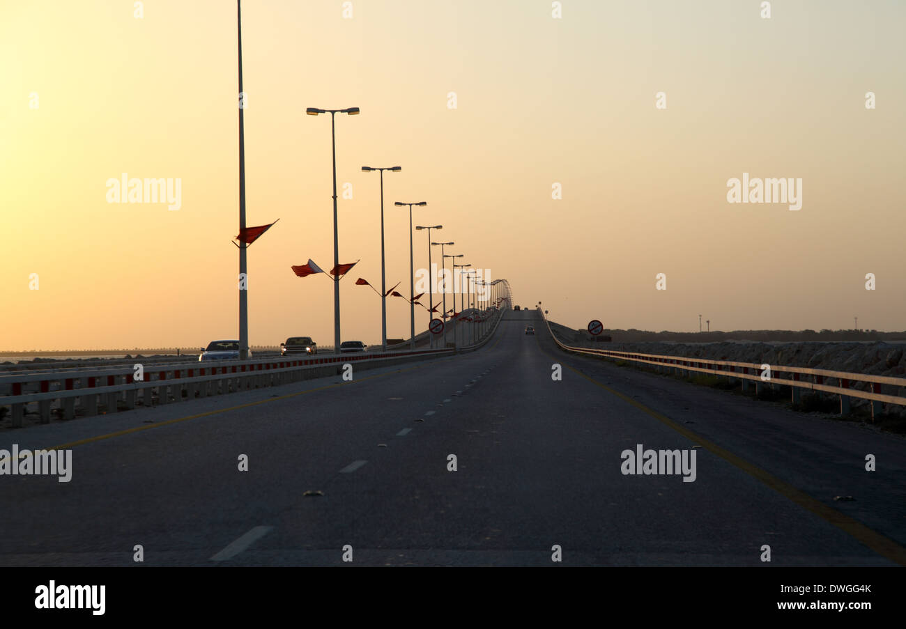 King Fahd Causeway at sunset. Bahrain, Middle East - Stock Image