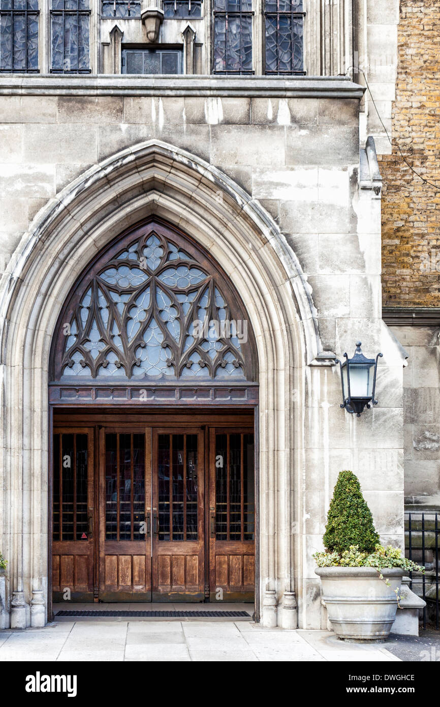 St George's Cathedral - Stone Arch door and entrance of Roman Catholic church designed by Augustus Pugin, Southwark, London, SE! - Stock Image