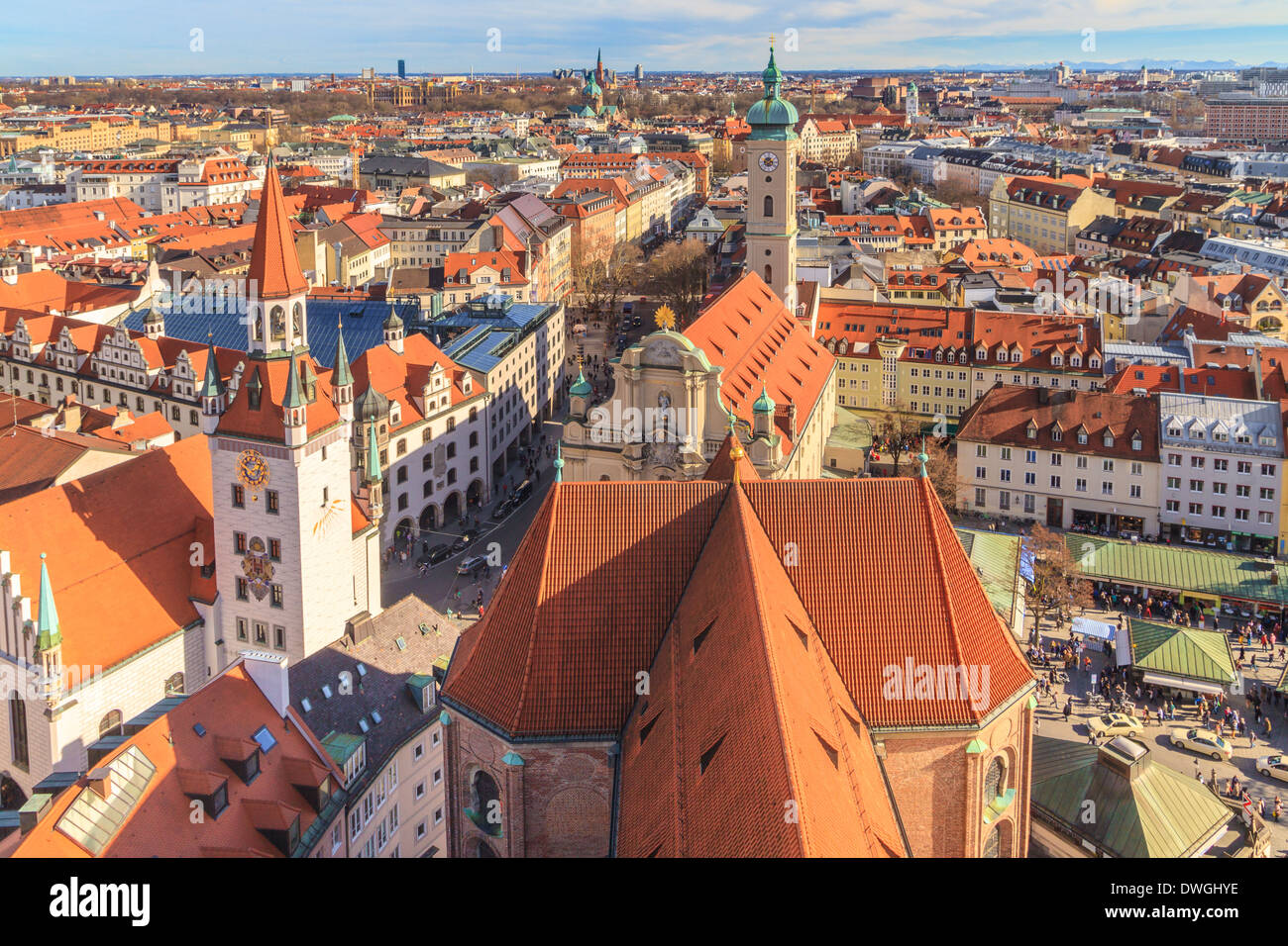 Munich Panorama with old city hall, Holy Spirit Church and Viktualienmarkt, Bavaria, Germany - Stock Image