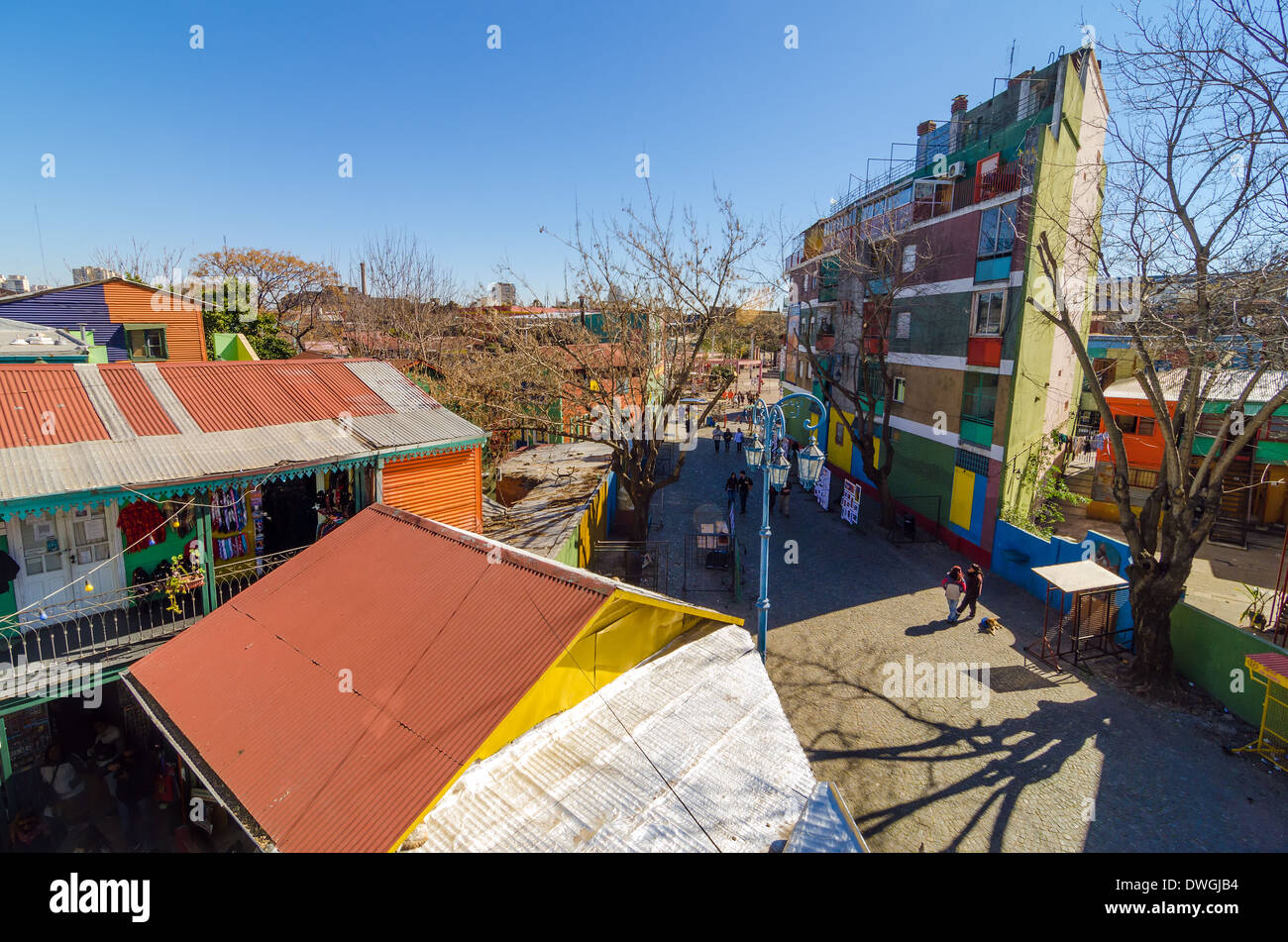View of Caminito in La Boca neighborhood in Buenos Aires, Argentina - Stock Image