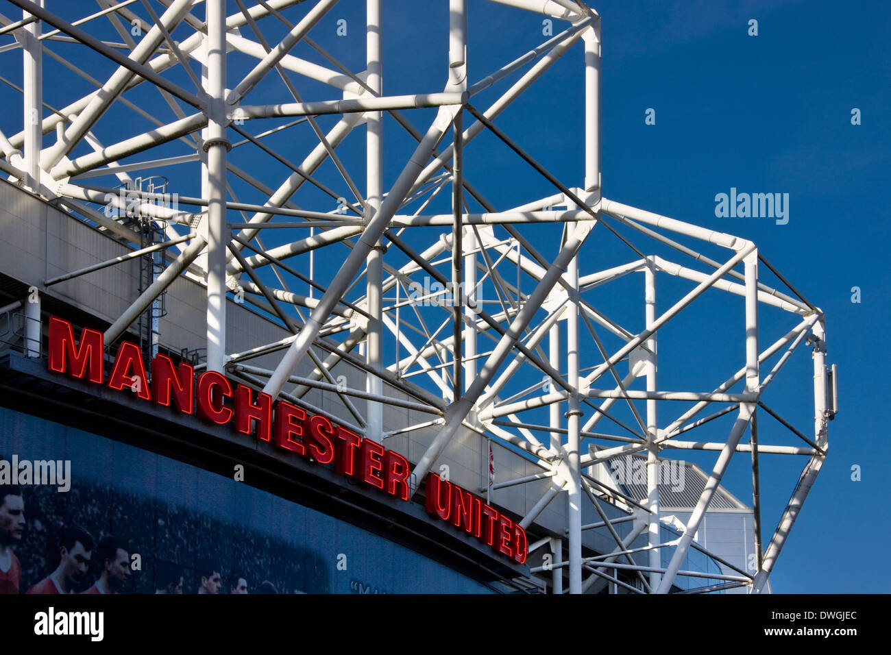 Manchester United Football Stadium in Old Trafford in Manchester in the United Kingdom - Stock Image