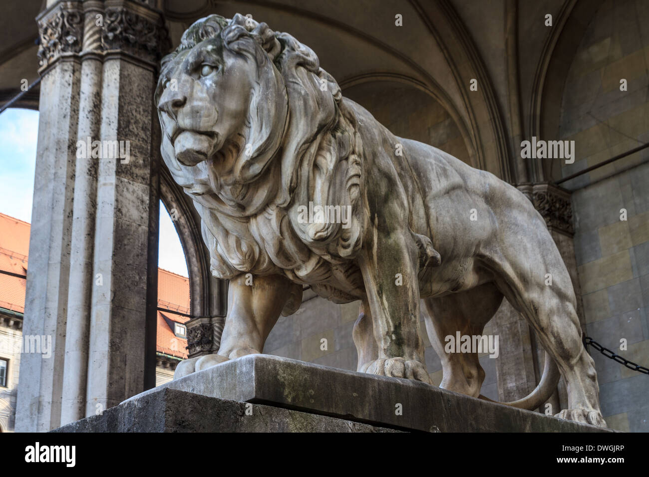 Munich, Bavarian Lion Statue in front of Feldherrnhalle, Bavaria, Germany - Stock Image