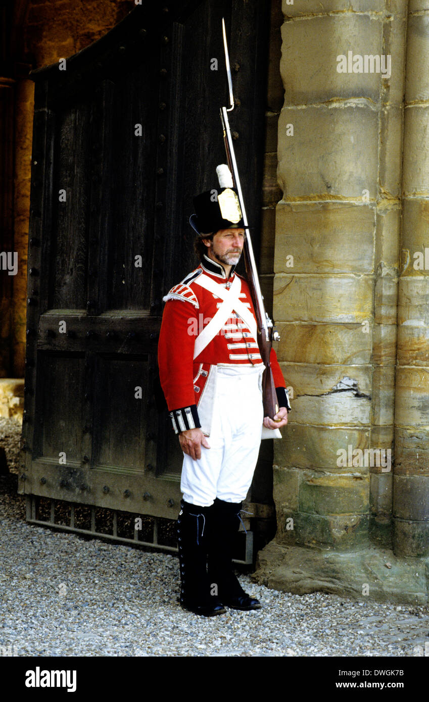 British Foot Soldier 1815, fixed bayonet, as deployed at Battle of Waterloo army soldiers uniform uniforms muskets bayonets England UK - Stock Image