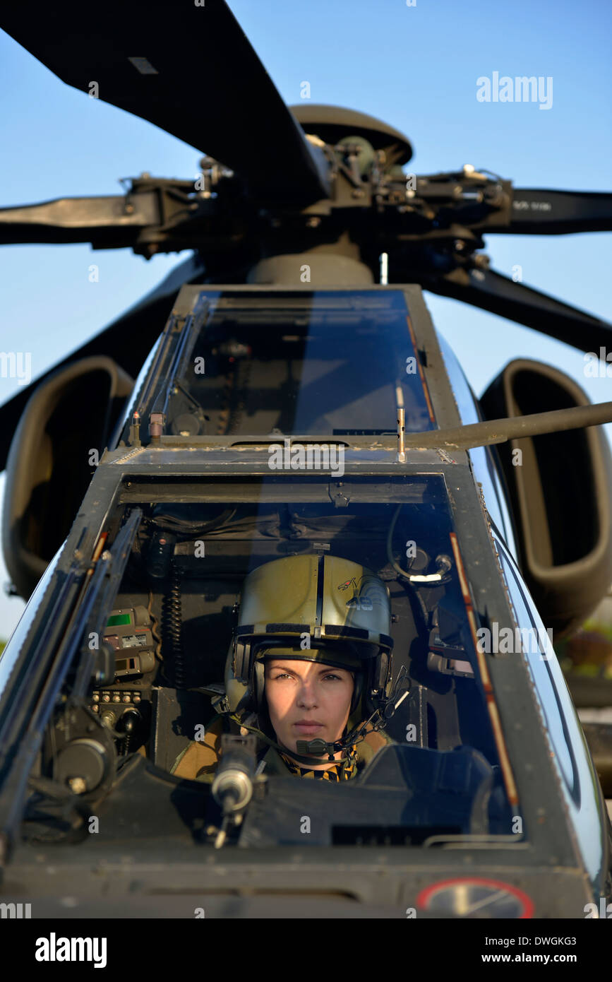 Italian military pilot in Mangusta helicopter cockpit - Stock Image