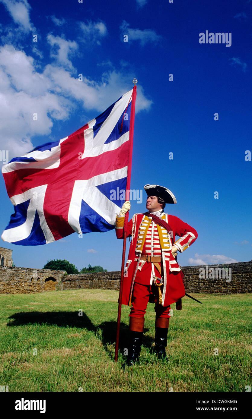 british soldier pulteney s 13th regiment 1745 union jack flag