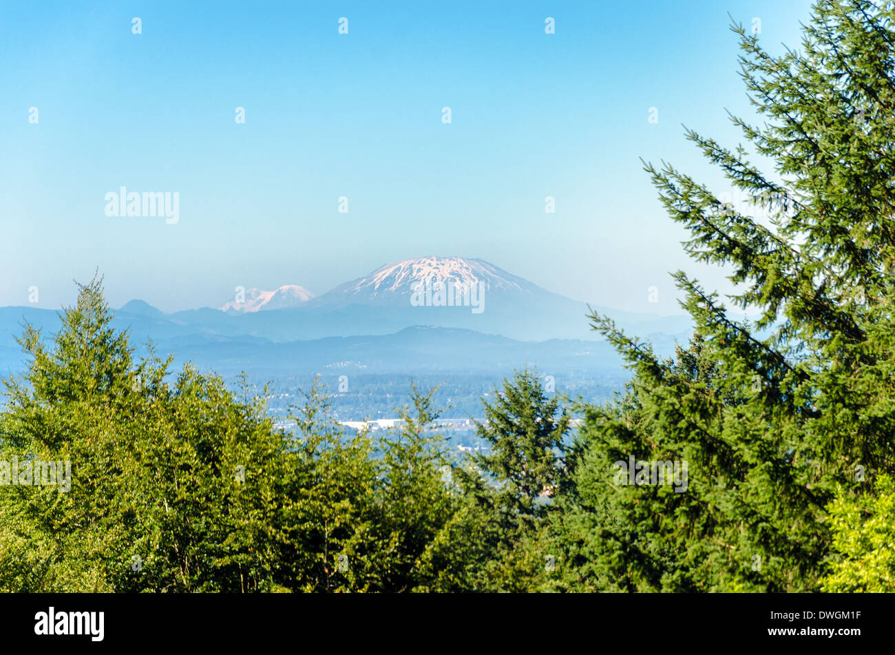 View of Mount St Helens as seen from Portland, Oregon - Stock Image