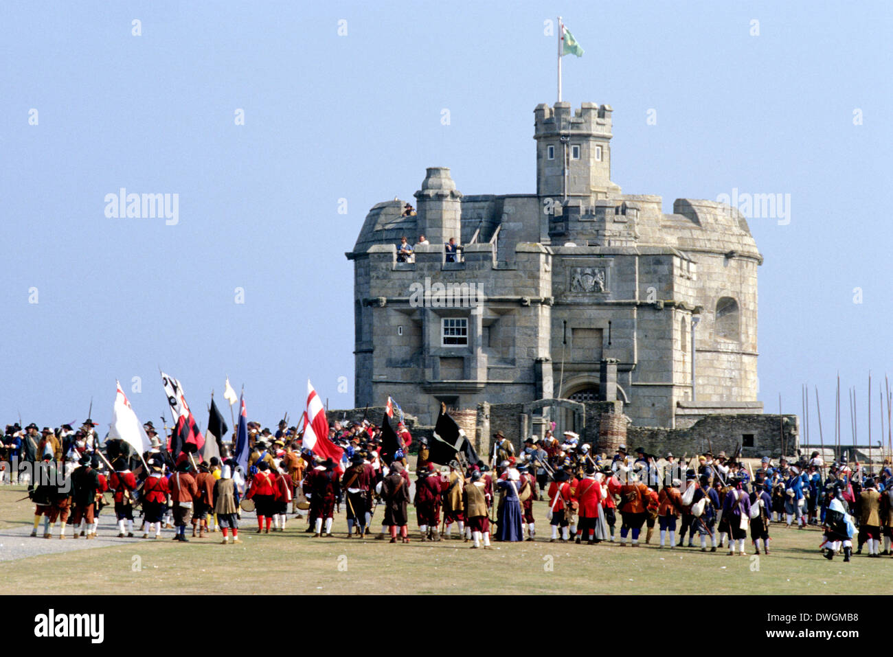 English Civil War siege at Pendennis Castle, 17th century, historical re-enactment soldier soldiers Cornwall, England UK cavalry - Stock Image