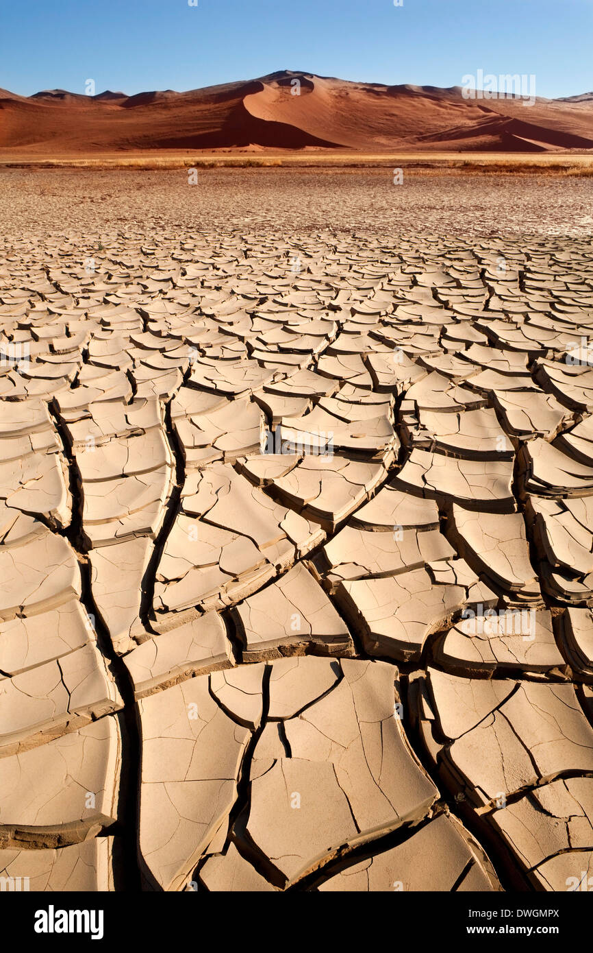 Dry, cracked earth during a drought in Sossusvlei region of Namibia. - Stock Image