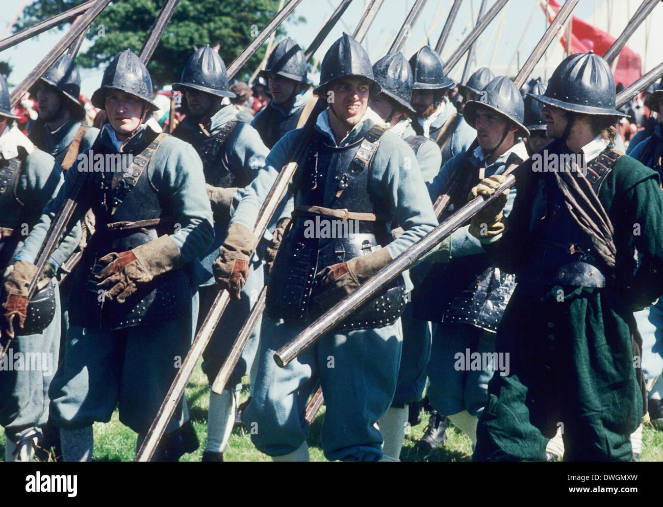 English Civil War, Royalist Pikemen, 17th century, historical re-enactment - Stock Image