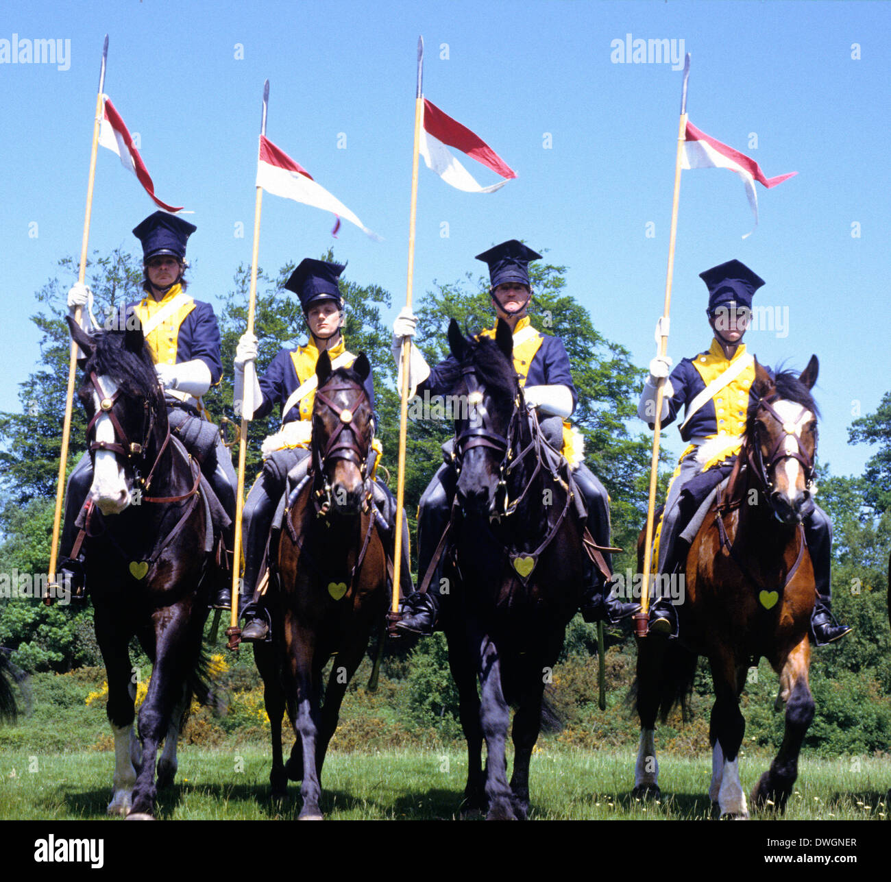 French Napoleonic cavalry 1815, as deployed at battle of Waterloo, chasseurs,  historical re-enactment lances lancers - Stock Image