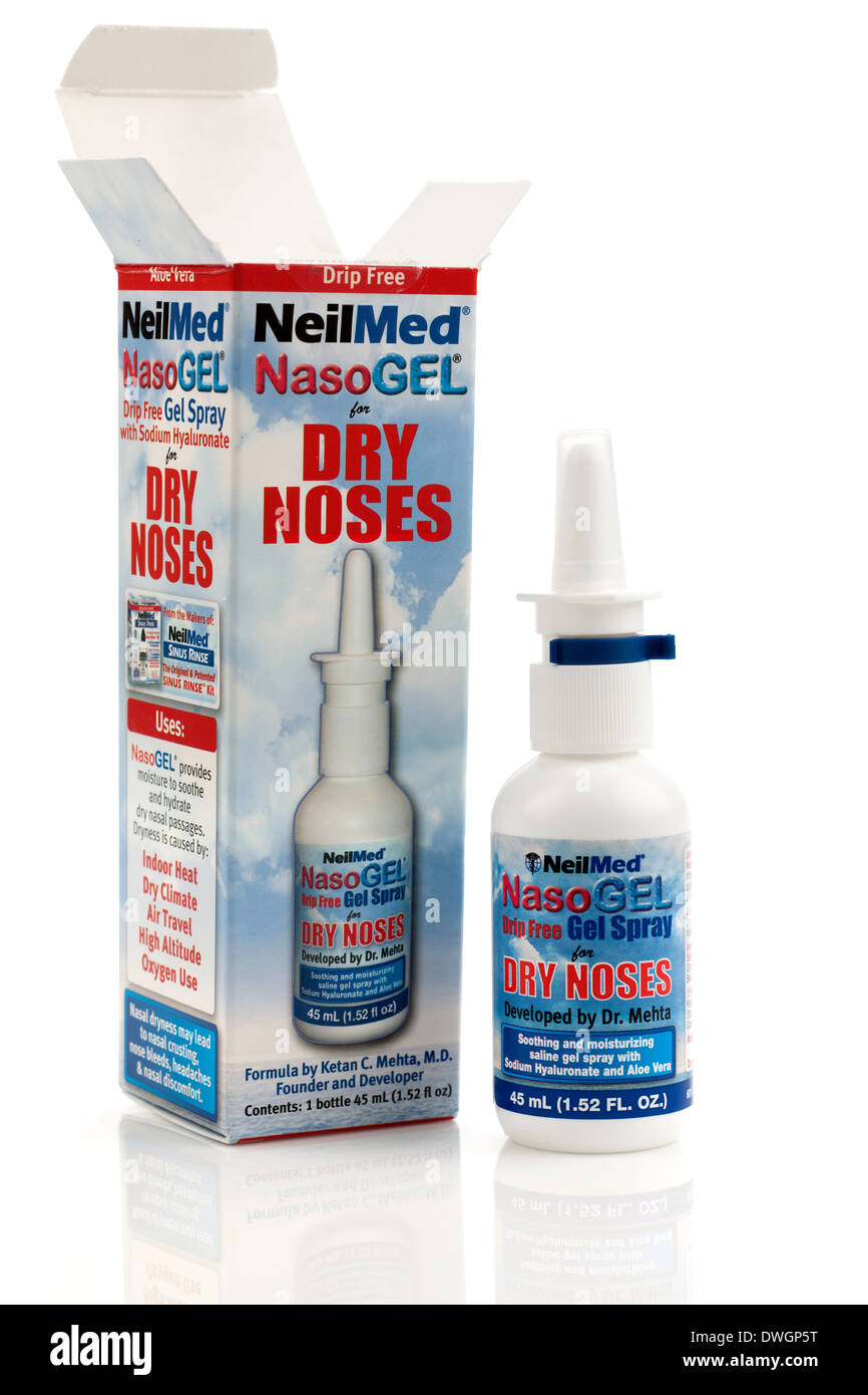 Container of NeilMed Nasogel with  sodium Hyaluronate  drip free nasal spray for dry noses - Stock Image