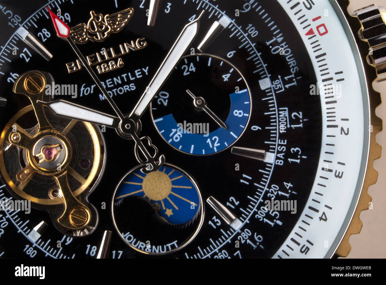 Close-up of an expensive Swiss made Breitling chronograph wristwatch. Stock Photo
