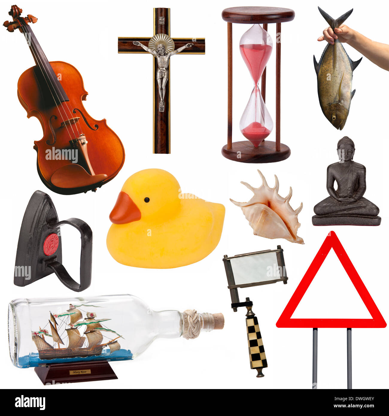 A selection of objects, items, ideas, and concepts for cutout (isolated on a white background). - Stock Image