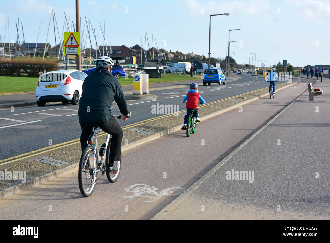 Two way dedicated cycle lane  on seafront road at Southend on Sea - Stock Image