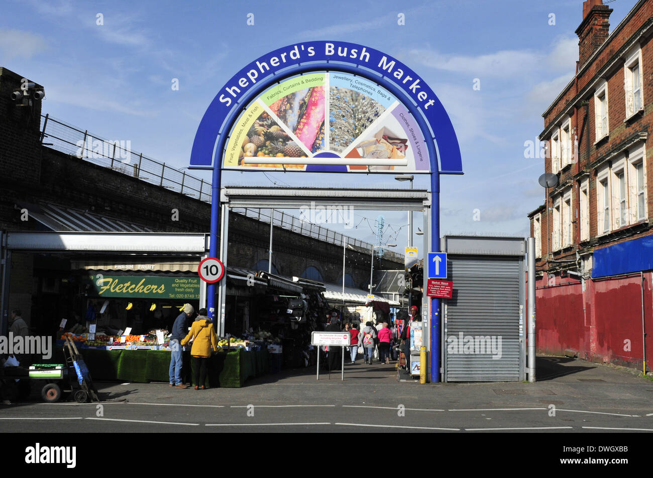 A view of the entrance of Shepherd's Bush market, London, UK - Stock Image