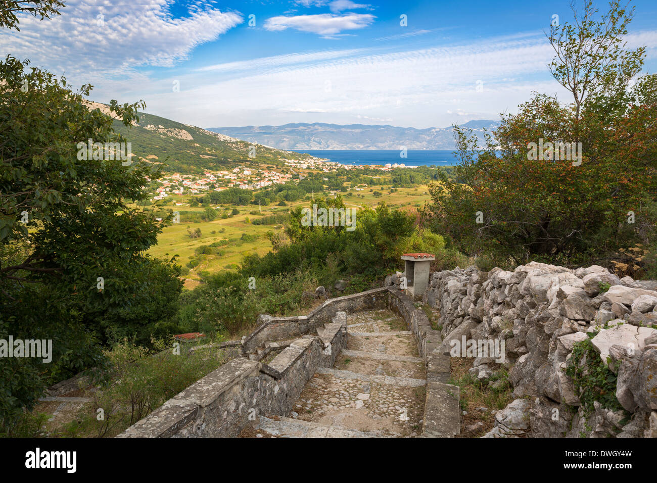 Bay in Krk Island with view to Baska, Croatia - Stock Image