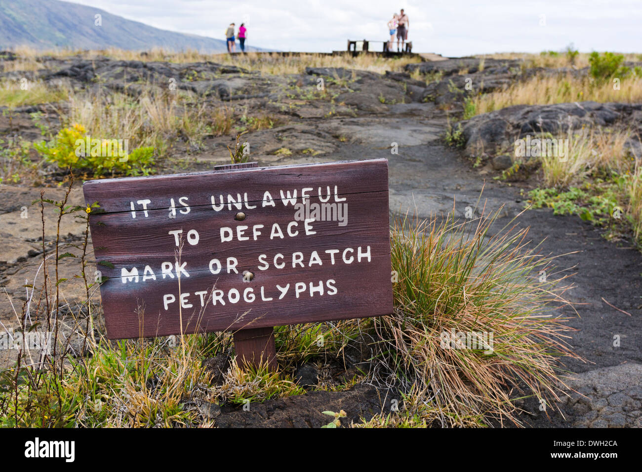 Sign 'It Is Unlawful To Deface Mark Or Scratch Petroglyphs'. Pu'u Loa Petroglyphs, Hawaii Volcanoes NP, - Stock Image