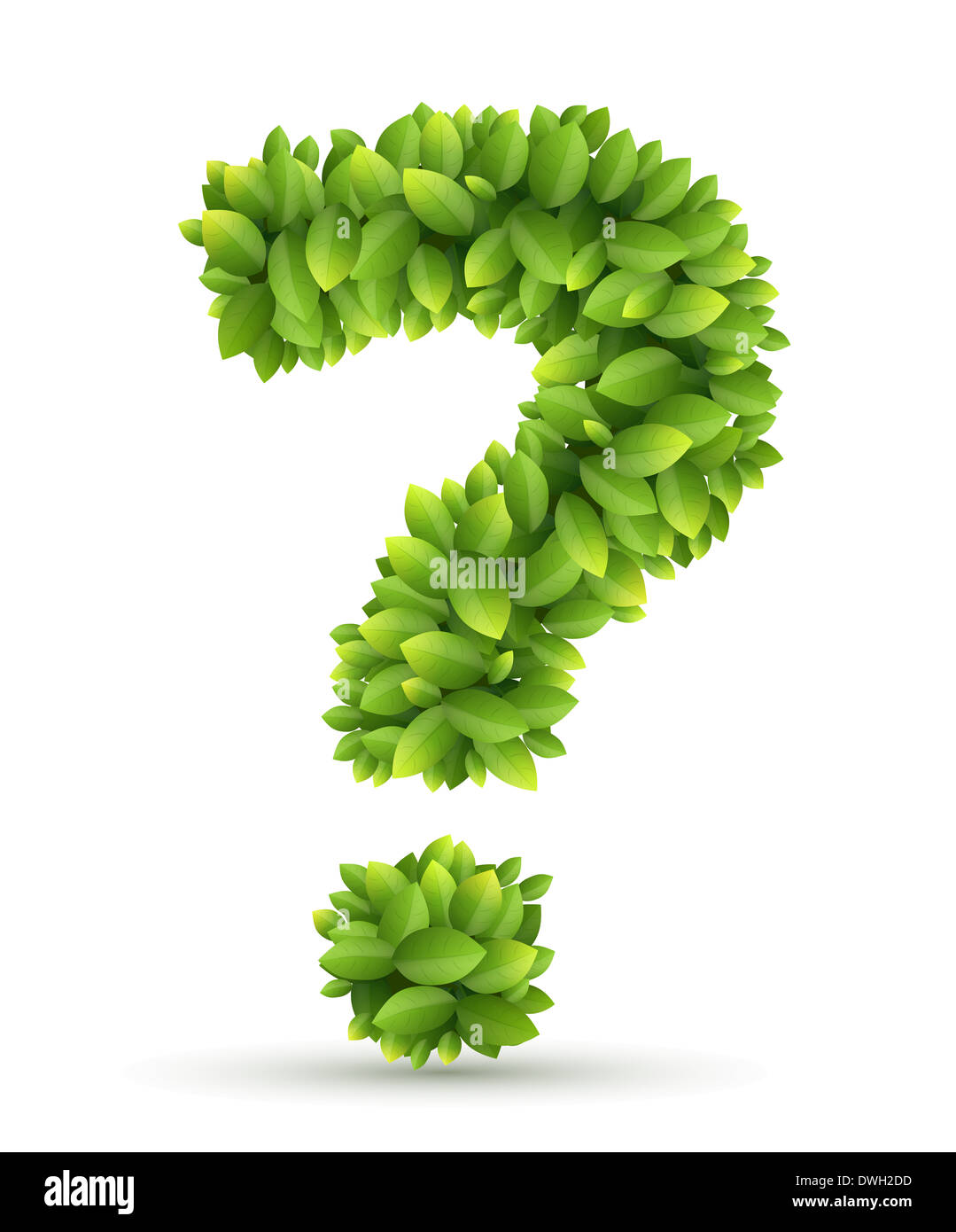 Question mark, vector alphabet of green leaves - Stock Image