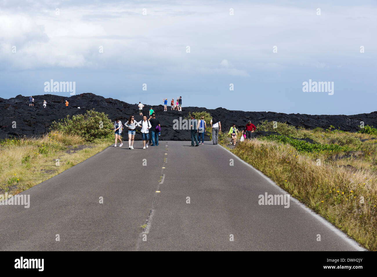 End of the Road, Chain of Craters Road, Hawai'i Volcanoes National Park, Big Island, Hawaii, USA. - Stock Image
