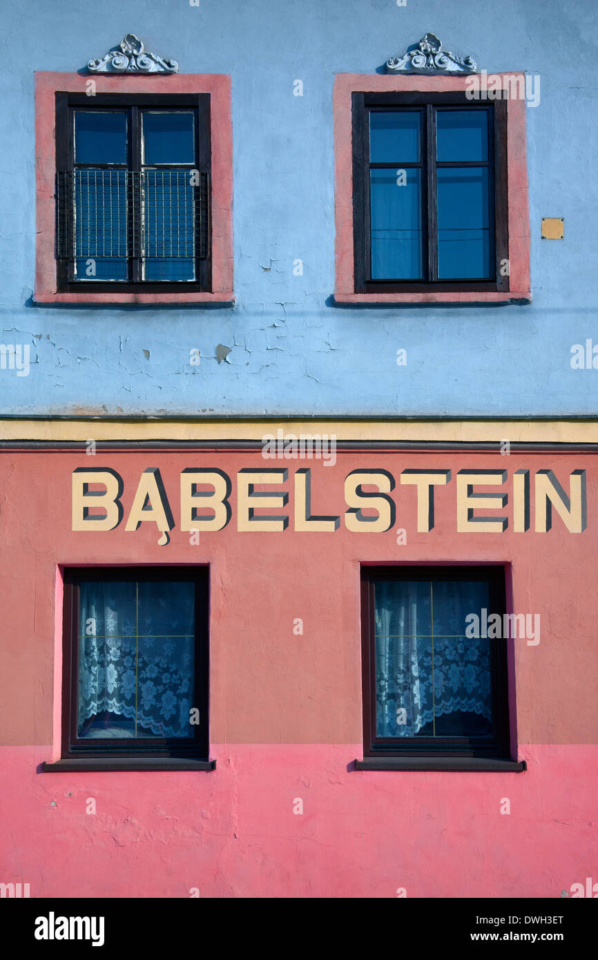 Old Jewish house and business in Szeroka Square in the Kazimierz district of the city of Krakow in Poland - Stock Image