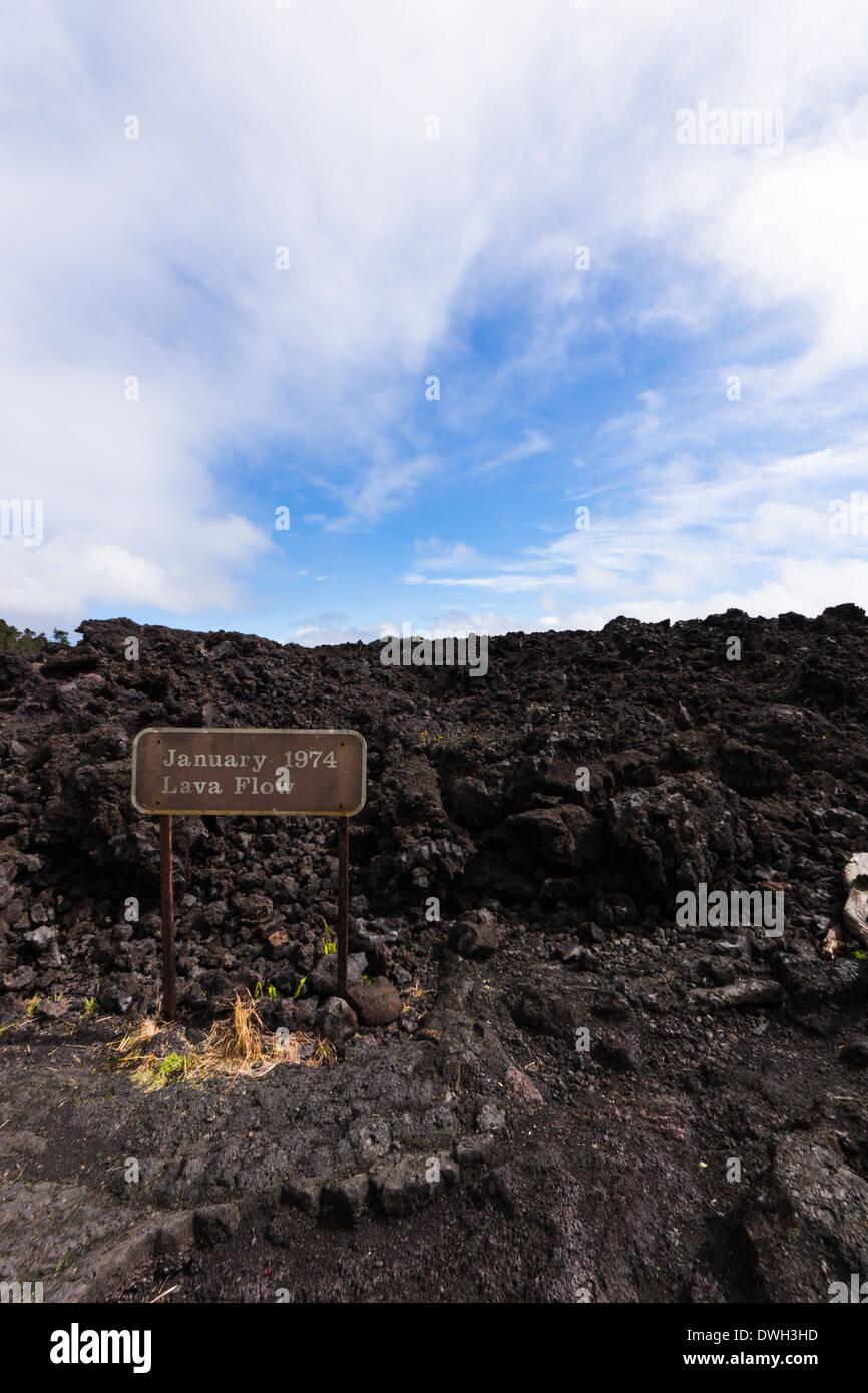 Mauna Ulu January 1974 lava flow. Hawai'i Volcanoes National Park, Big Island, Hawaii, USA. - Stock Image