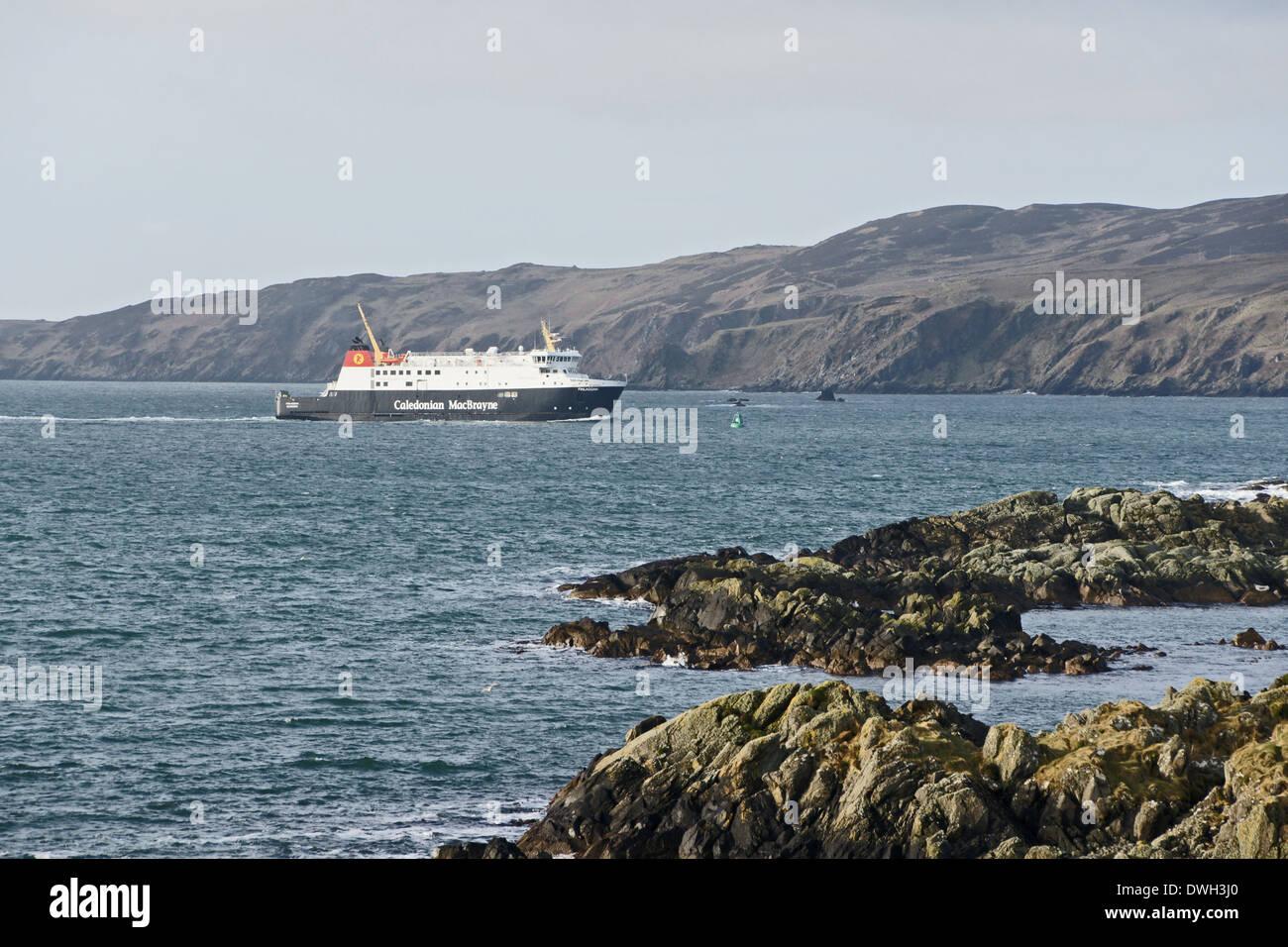 Caledonian MacBrayne car and passenger ferry Finlaggan approaching Port Ellen ferry terminal Islay Western Isles Stock Photo