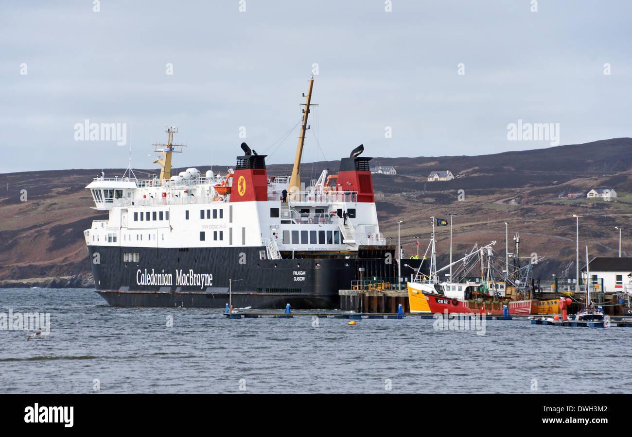 Caledonian MacBrayne car and passenger ferry Finlaggan moored at Port Askaig ferry terminal on Islay Western Isles Stock Photo