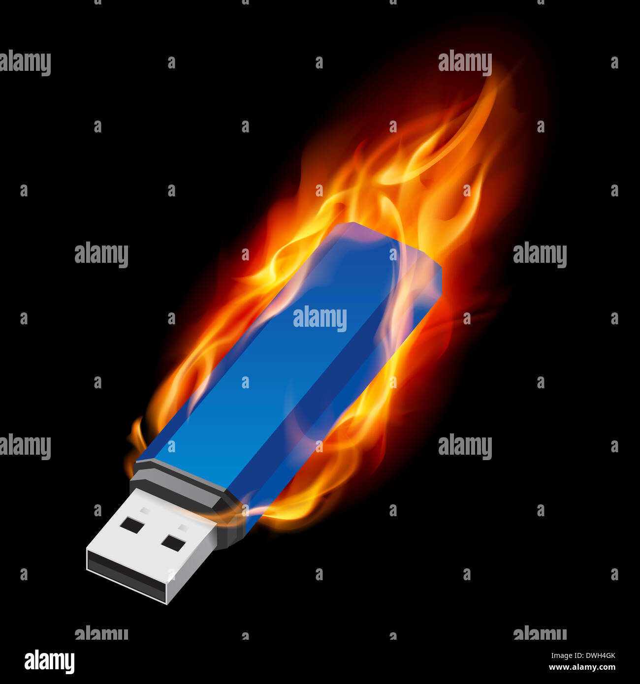 Blue Usb Flash Drive In Fire Illustration On Black Background Stock Photo Alamy