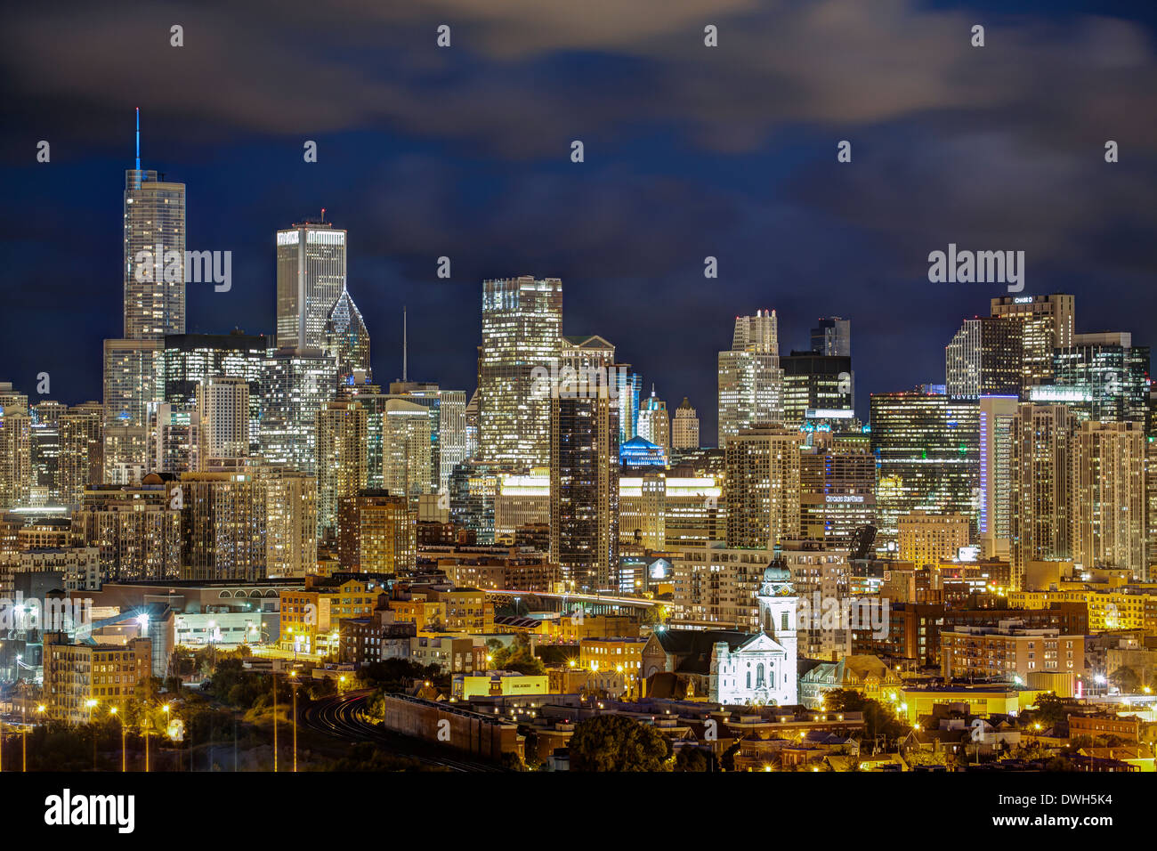 Chicago, Illinois, United States of America, City Skyline at night - Stock Image
