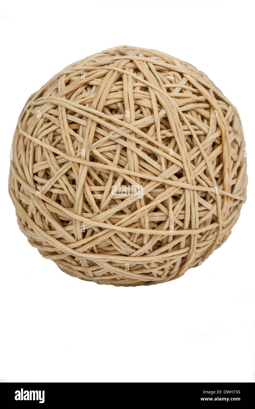 A ball of elastic bands - Isolated - Stock Image