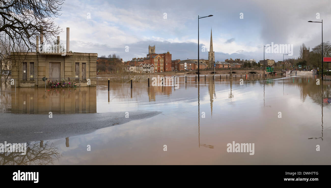 A panoramic photograph of the River Severn flooding over Tybridge Street in Worcester. Stock Photo