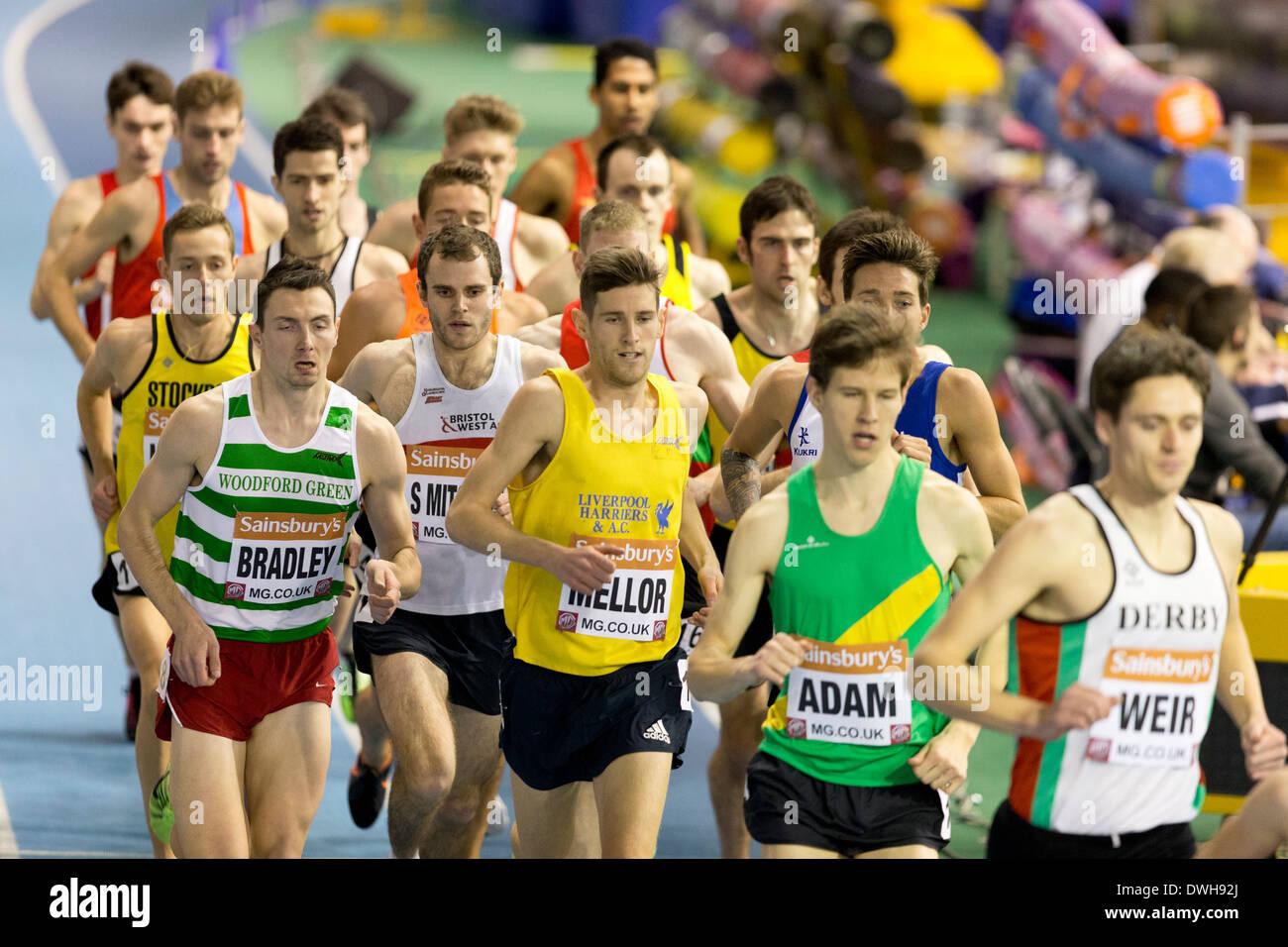 3000m Men Final British Athletics Indoor Championships, Sheffield England UK - Stock Image