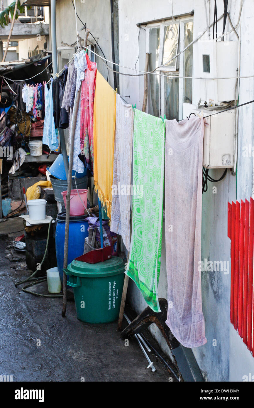 Colorful towels hanging on a line in an African village Stock Photo