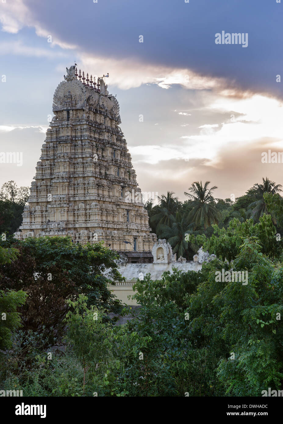 Evening storm gathers over Vellore fort and the Gopuram of Shiva temple in Tamil Nadu, India. Stock Photo