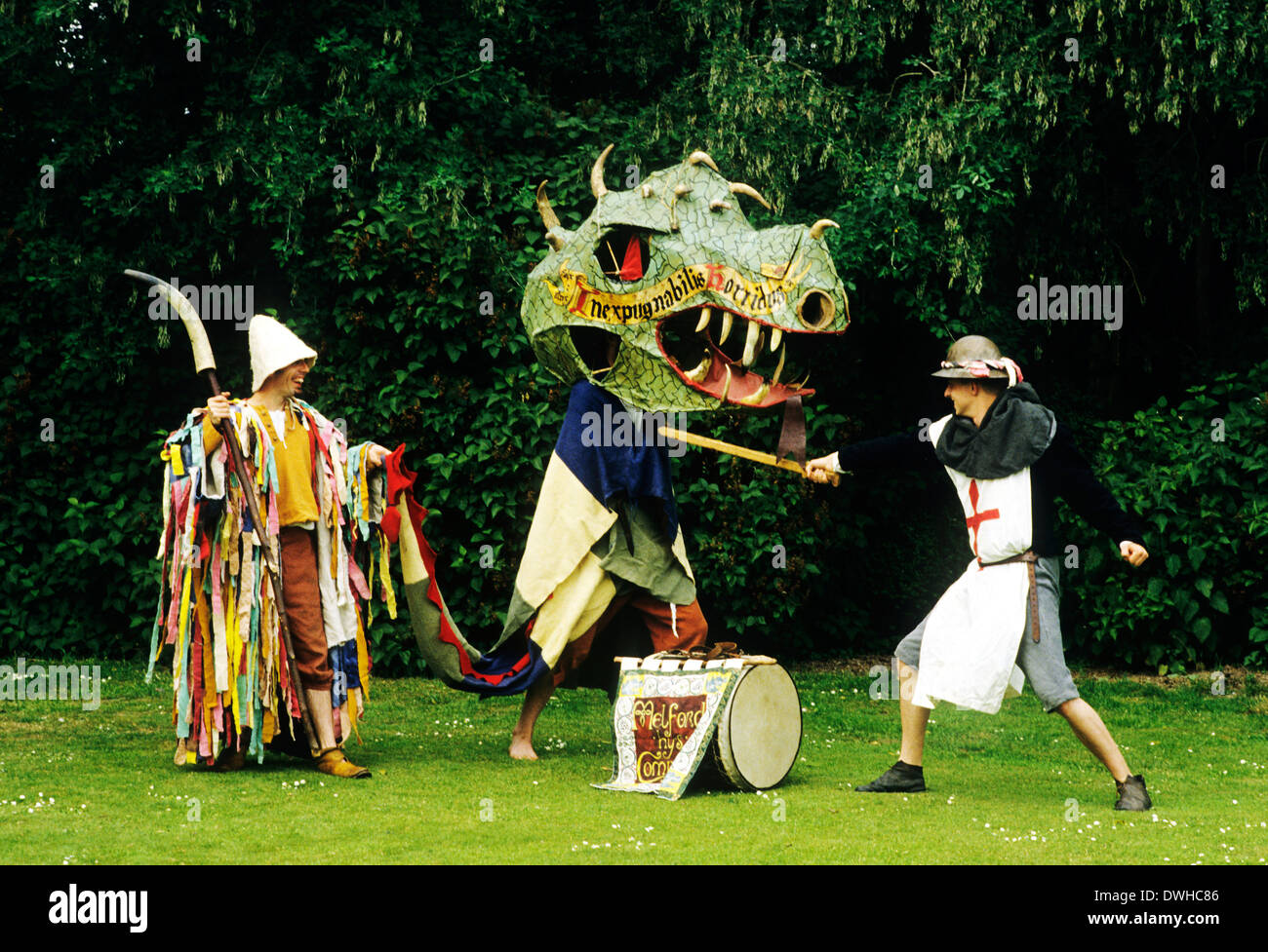 Medieval Miracle Play, St. George and Dragon, plays allegory, theatre, theater, entertainment, historical re-enactment England UK - Stock Image