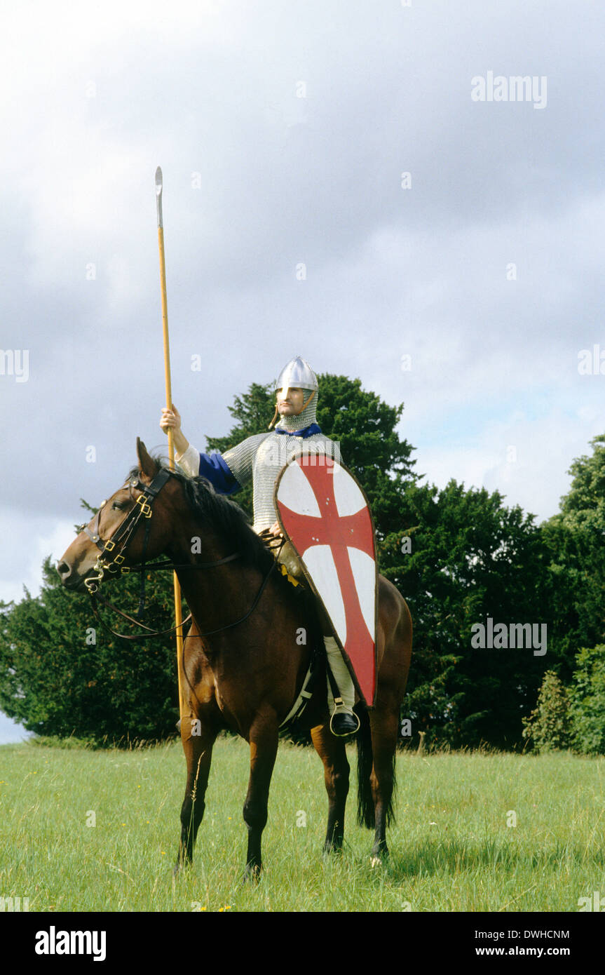 Re-enactment, Norman cavalry soldier, 11th century, historical re-enactment knight knights soldiers England UK horse - Stock Image