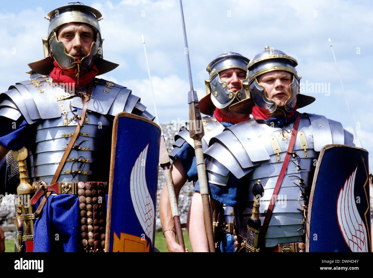 Roman Army, 14th Legion in Britain, 2nd century, historical re-enactment legionary soldier soldiers England UK - Stock Image