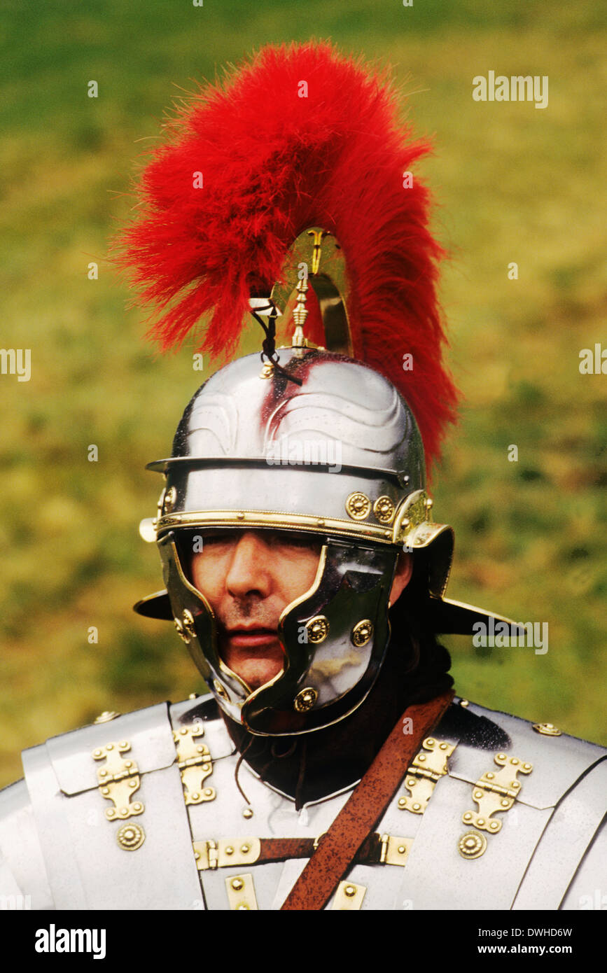 Roman Centurion, 2nd Century, historical re-enactment soldier soldiers England UK - Stock Image