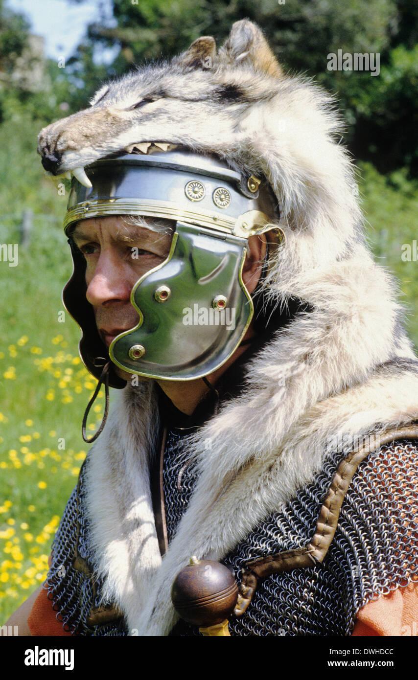 Roman legionary Standard Bearer, wolf head, lupus, 1st century, historical re-enactment, soldier soldiers England UK - Stock Image