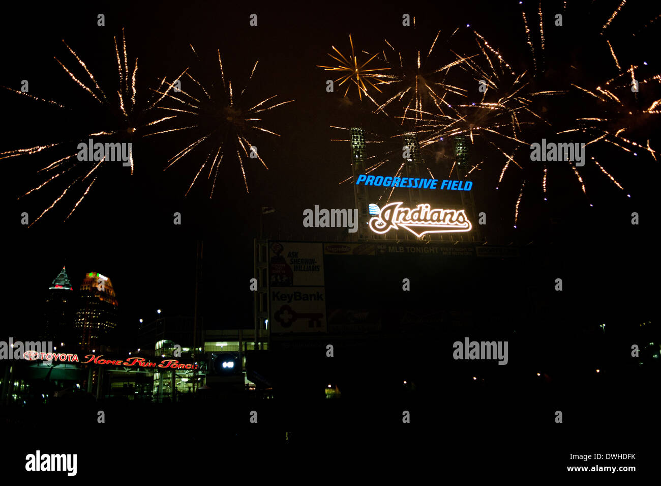 Fireworks at Progressive Field, home of the Cleveland Indians - Stock Image