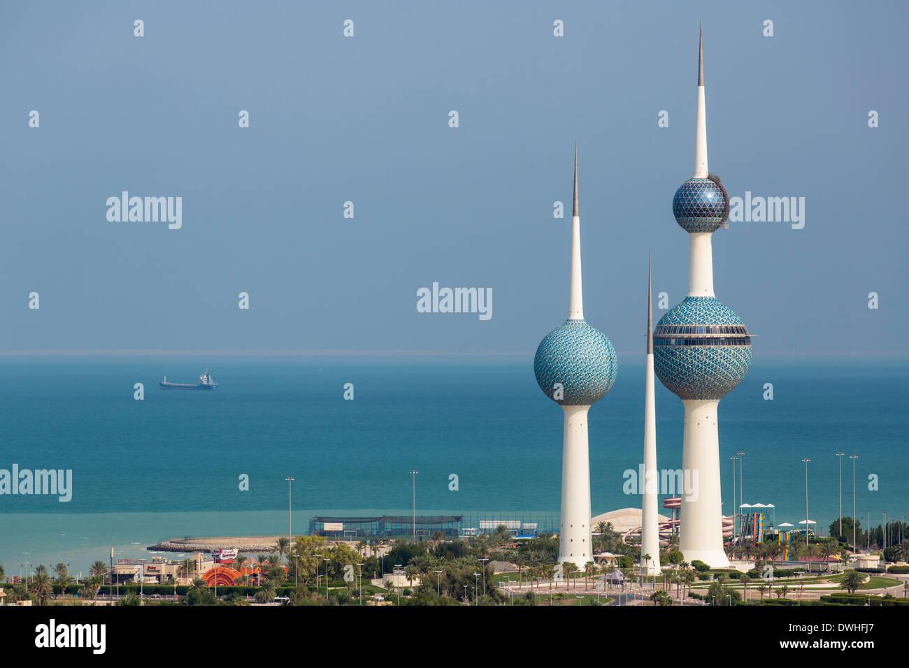 The Kuwait Towers, Arabian Gulf Street, Kuwait City, Kuwait, Persian Gulf, Arabia - Stock Image