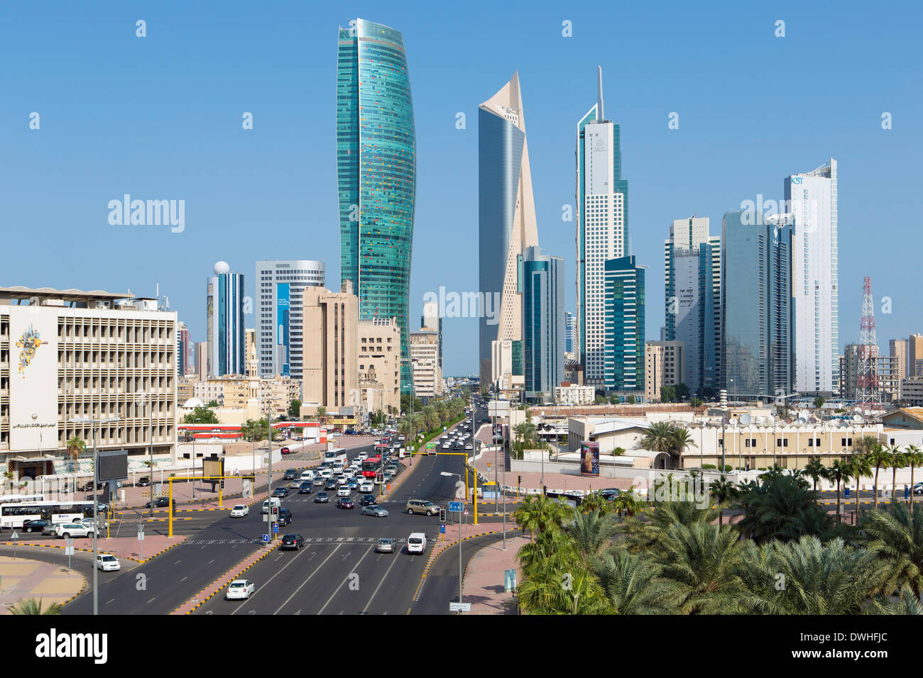 Kuwait City, modern city skyline and central business district Stock