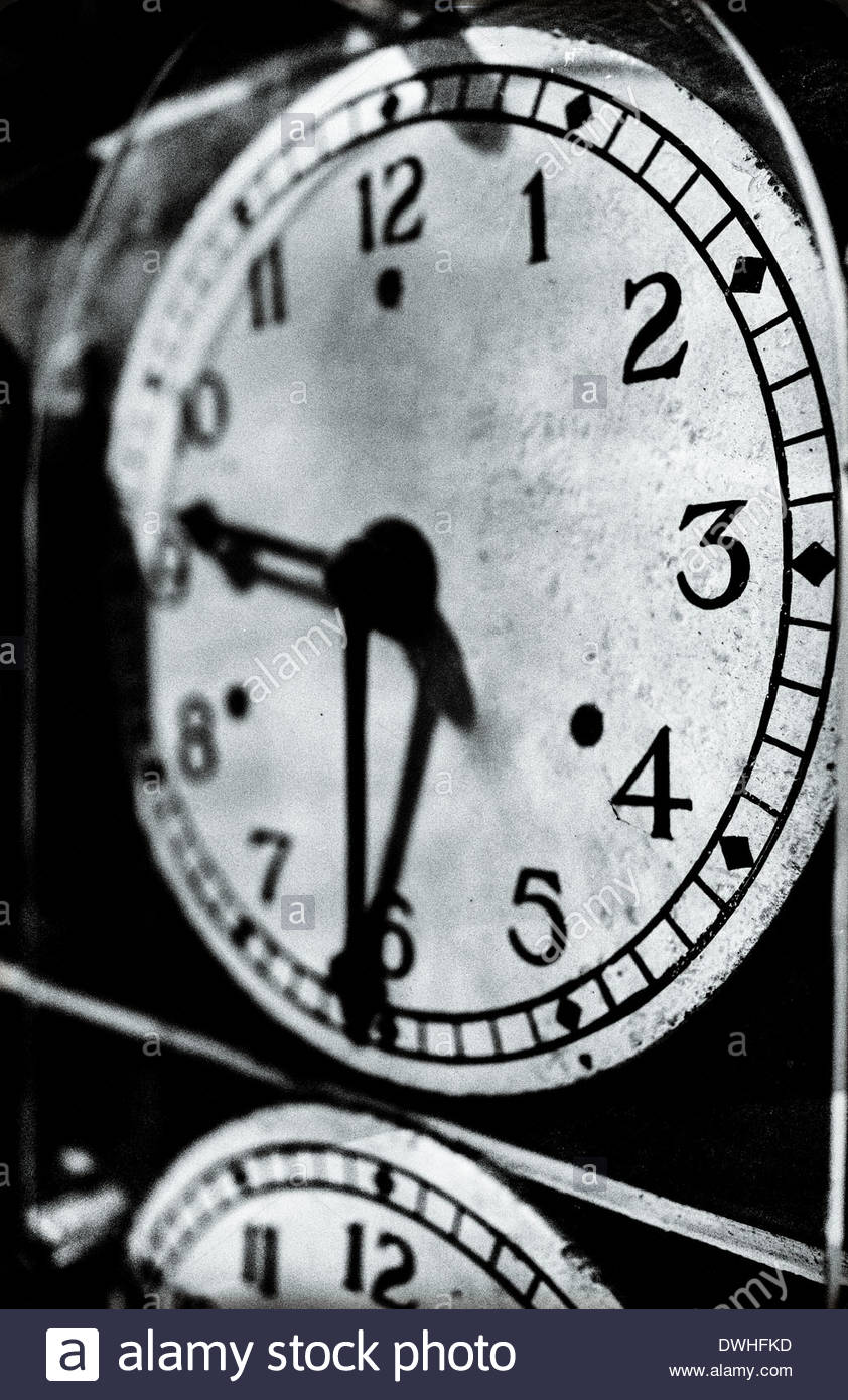 Detail of railway locomotive clocks, England, United Kingdom. - Stock Image