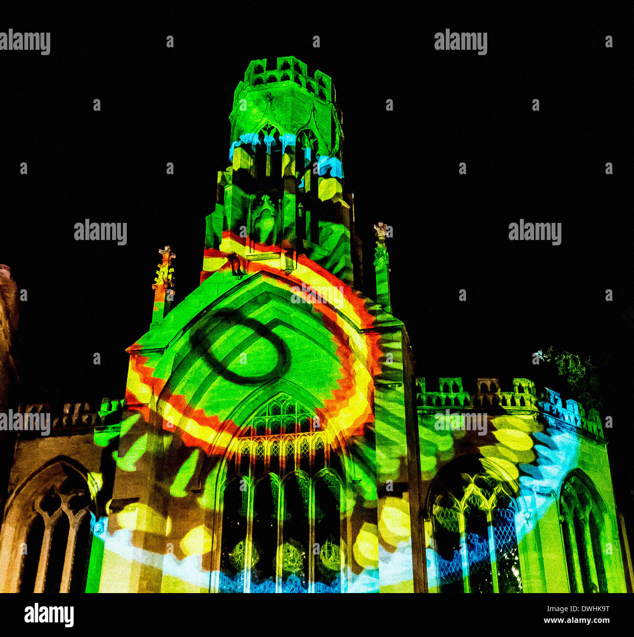 St Helen's Church, Stonegate York washed with projected colour patterns during the Illuminating York Festival. - Stock Image