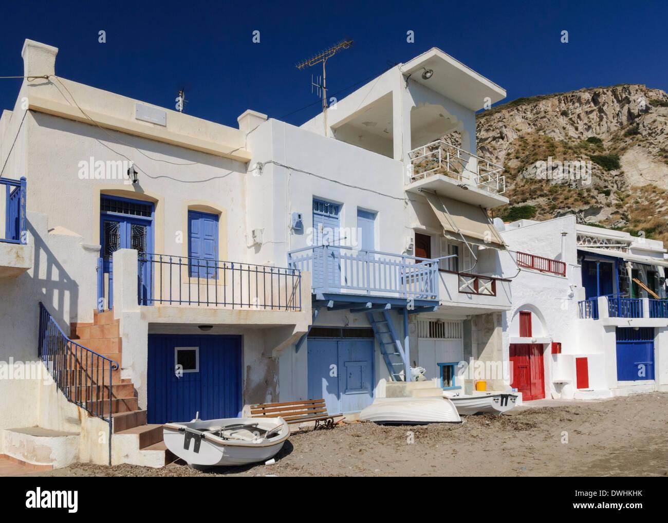 Syrmata, fishermen's houses in the tiny seaside village of Klima on Milos Island, Cyclades, Greece Stock Photo