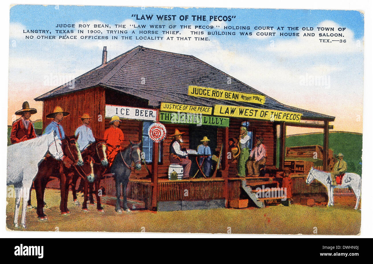 This 1930s postcard shows Judge Roy Bean, 'Law West of the Pecos' holding court in Langtry, Texas, in 1900, trying horse thief. - Stock Image