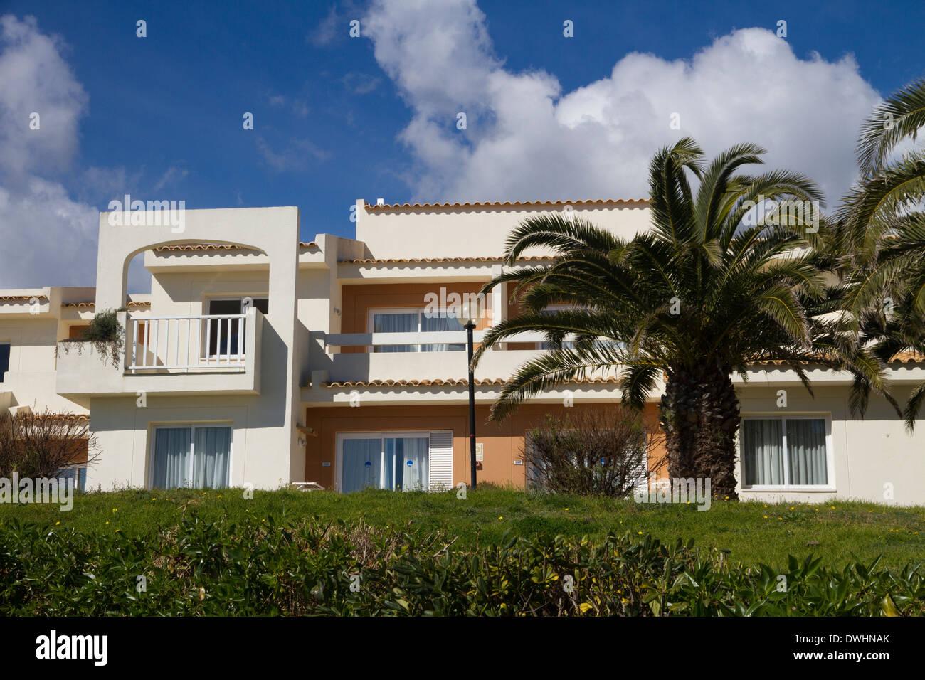 Mediterranean houses promenade Mallorca East coast near Porto Cristo - Stock Image