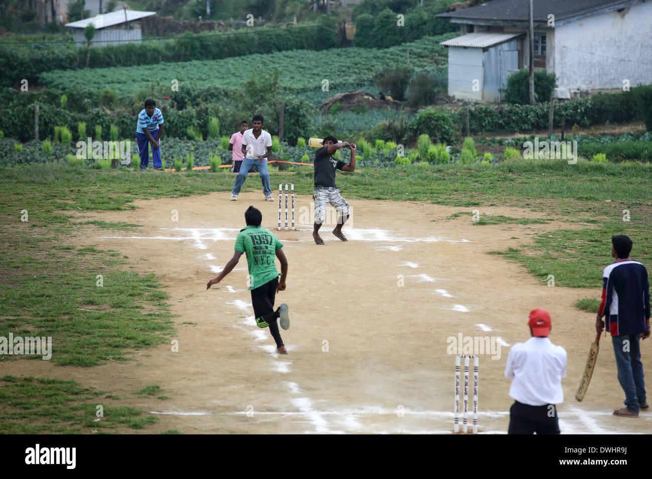 Youth cricket match in Nuwara Eliya - Stock Image