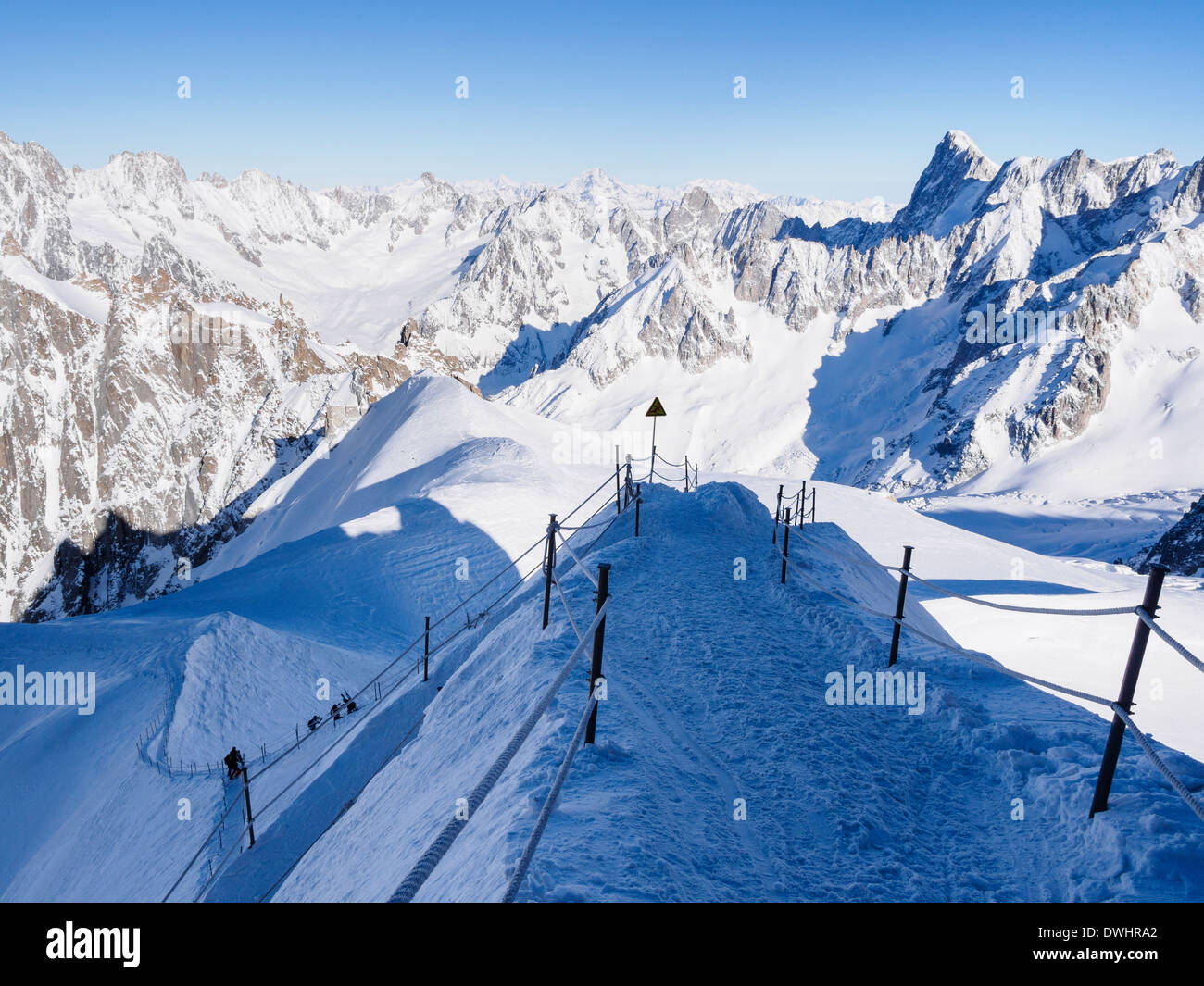 Roped path route to Vallee Blanche following arête on Aiguille du Midi. Chamonix-Mont-Blanc Rhone-Alpes France - Stock Image
