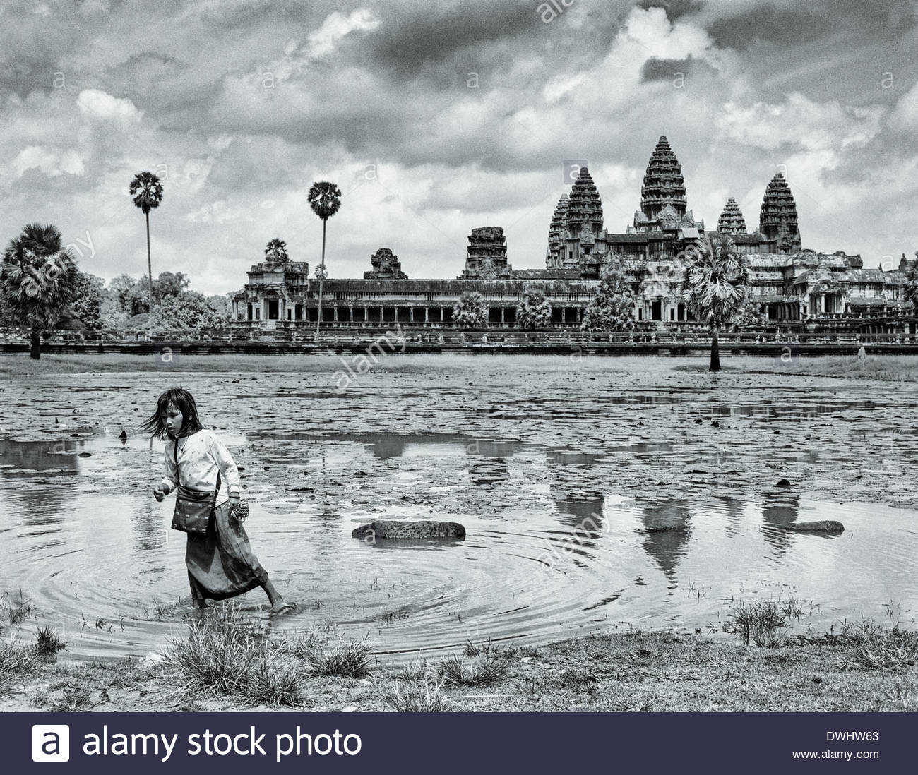 A girl walks through one of the lotus ponds in front of Angkor Wat, Siem Reap province, Cambodia, South East Asia. - Stock Image